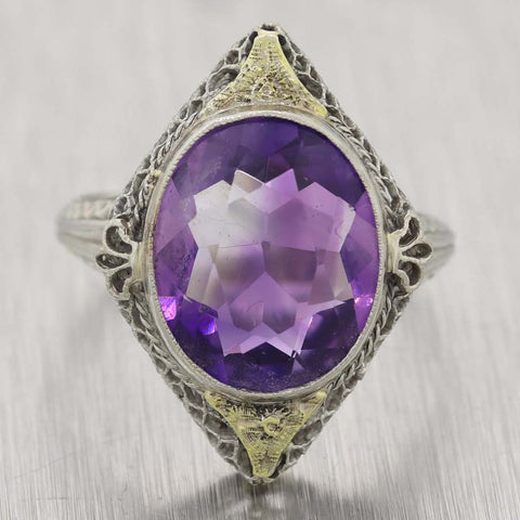 1930s Antique Art Deco 18k White Gold Amethyst Filigree Ring