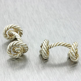 Hermes Designer Modern Men's 925 Solid Silver Cable Rope Twisted Knot Cufflinks