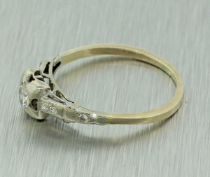 Antique Art Deco 18k Yellow White Gold 0.23ctw Diamond Engagement Ring