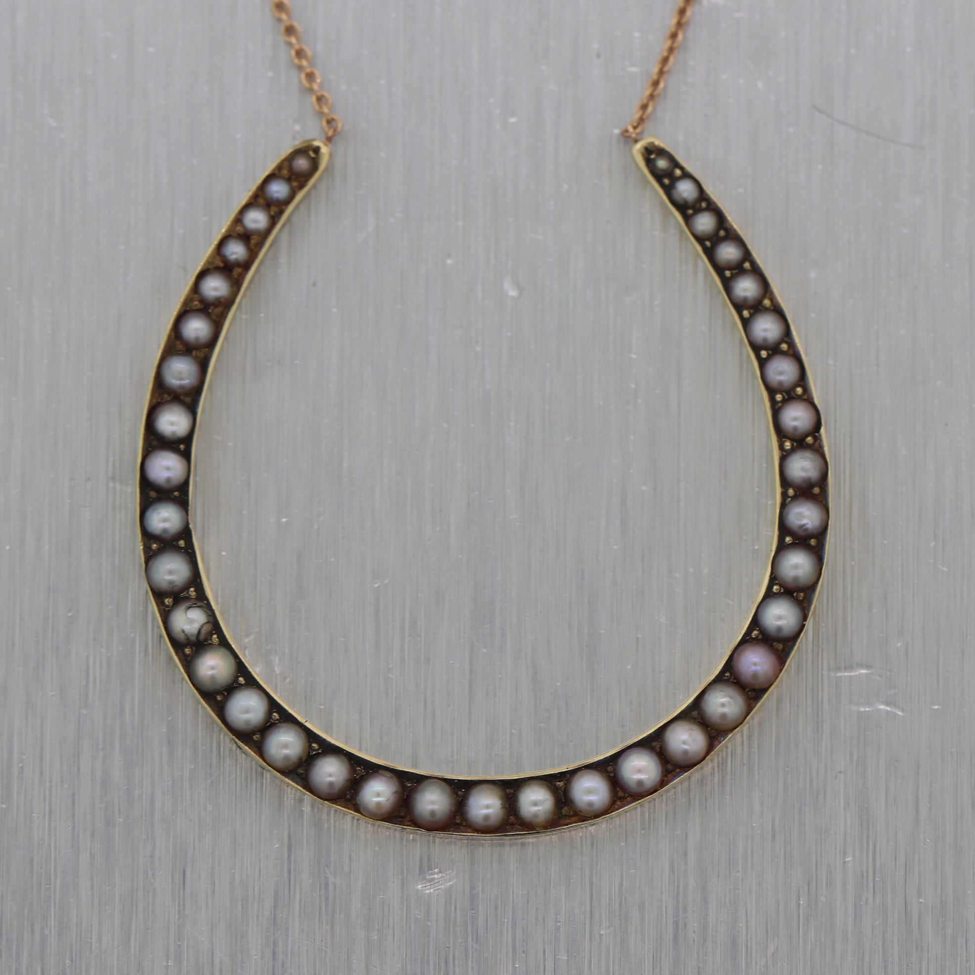 "1890's Antique Victorian 14k Yellow Gold Seed Pearl Horseshoe 17"" Necklace"