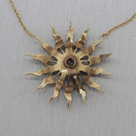 "1915 Antique ArtNouveau 14k Yellow Gold Seed Pearl Diamond Sunburst 16"" Necklace"