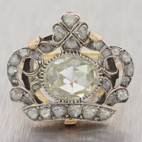 1850s Imperial Russian Sterling Silver 14k Yellow Gold Rose Cut Diamond Crown Ring