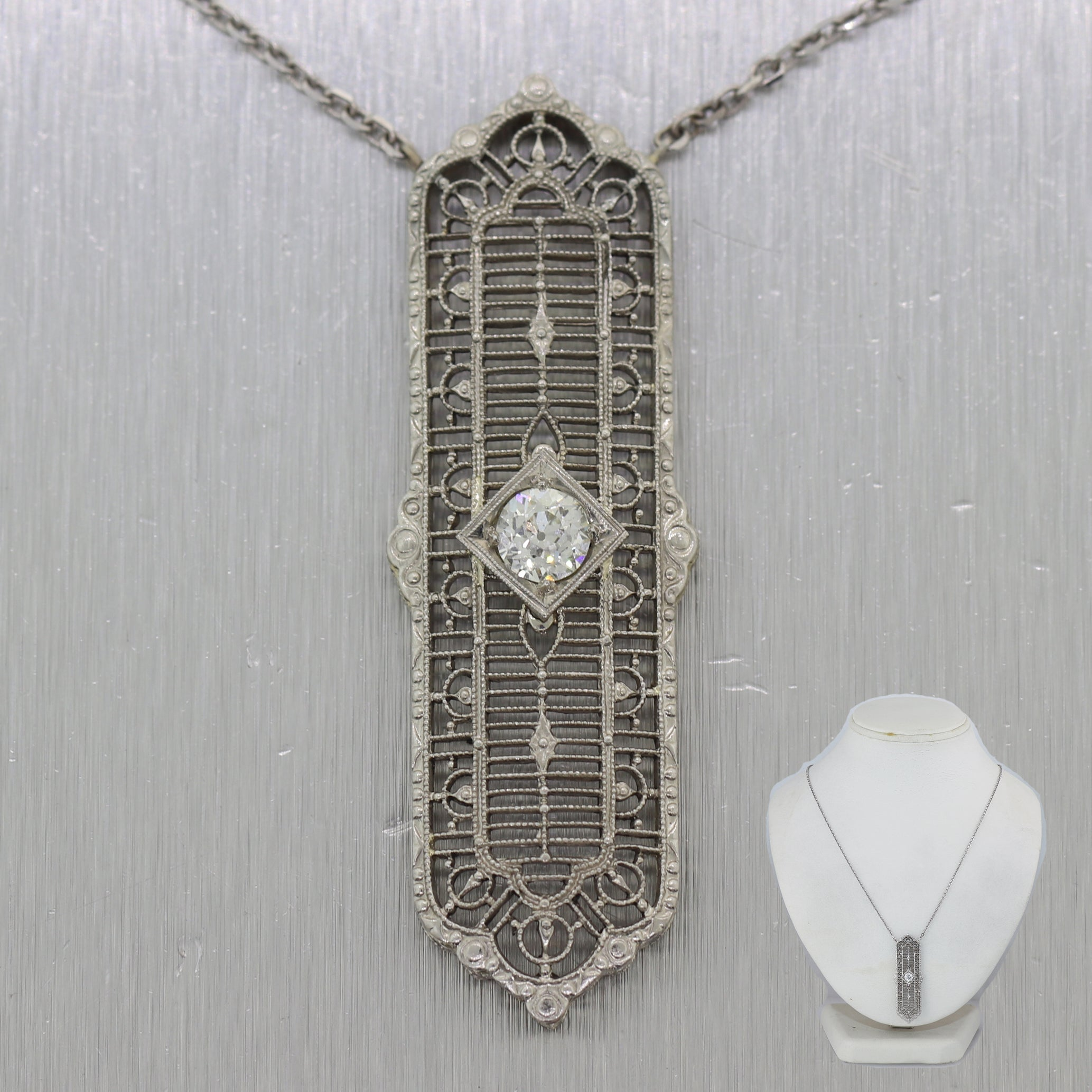 "1930's Antique Art Deco 14k White Gold 0.50ctw Diamond Filigree 23"" Necklace"