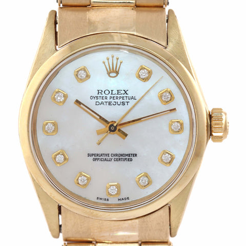 SERVICED Vintage Ladies Rolex Oyster Perpetual 14k Gold 29mm MOP Diamond Watch A9
