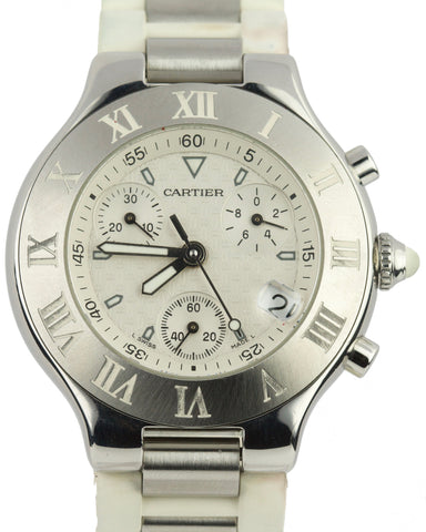 Cartier Must 21 Chronoscaph 2424 Chronograph 38mm W10184u2 Steel Rubber Watch