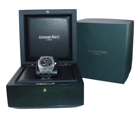 Audemars Piguet AP Royal Oak 39 Dual Time Power Reserve Black 26120 Watch Box