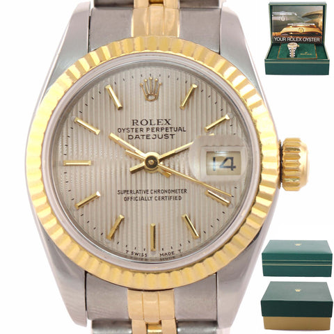 Ladies Rolex DateJust 18k Gold Steel Two Tone Silver Tapestry 69173 26mm Watch A9