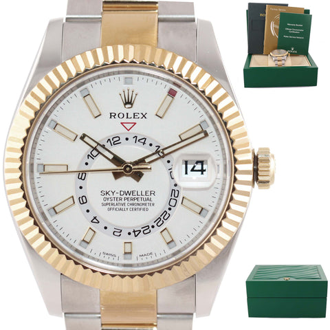 2018 MINT Rolex Sky-Dweller 326933 Silver 18K Two Tone Gold Steel 42mm Watch A9