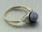 Vintage Estate 18k Solid White Gold 7mm Black Pearl .12ctw Diamond Ring