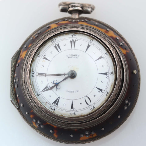 1800s Antique Edward Prior London Silver Triple Case Verge Fusee Pocket Watch