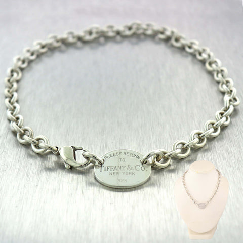 Please Return To Tiffany & Co. Oval Charm Sterling Silver Cable Chain Necklace B9