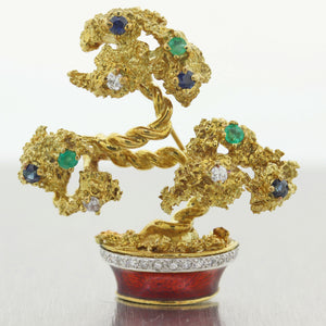Le Triomohe 18k Yellow Gold 0.60ctw Diamond Sapphire & Emerald Brooch Pin