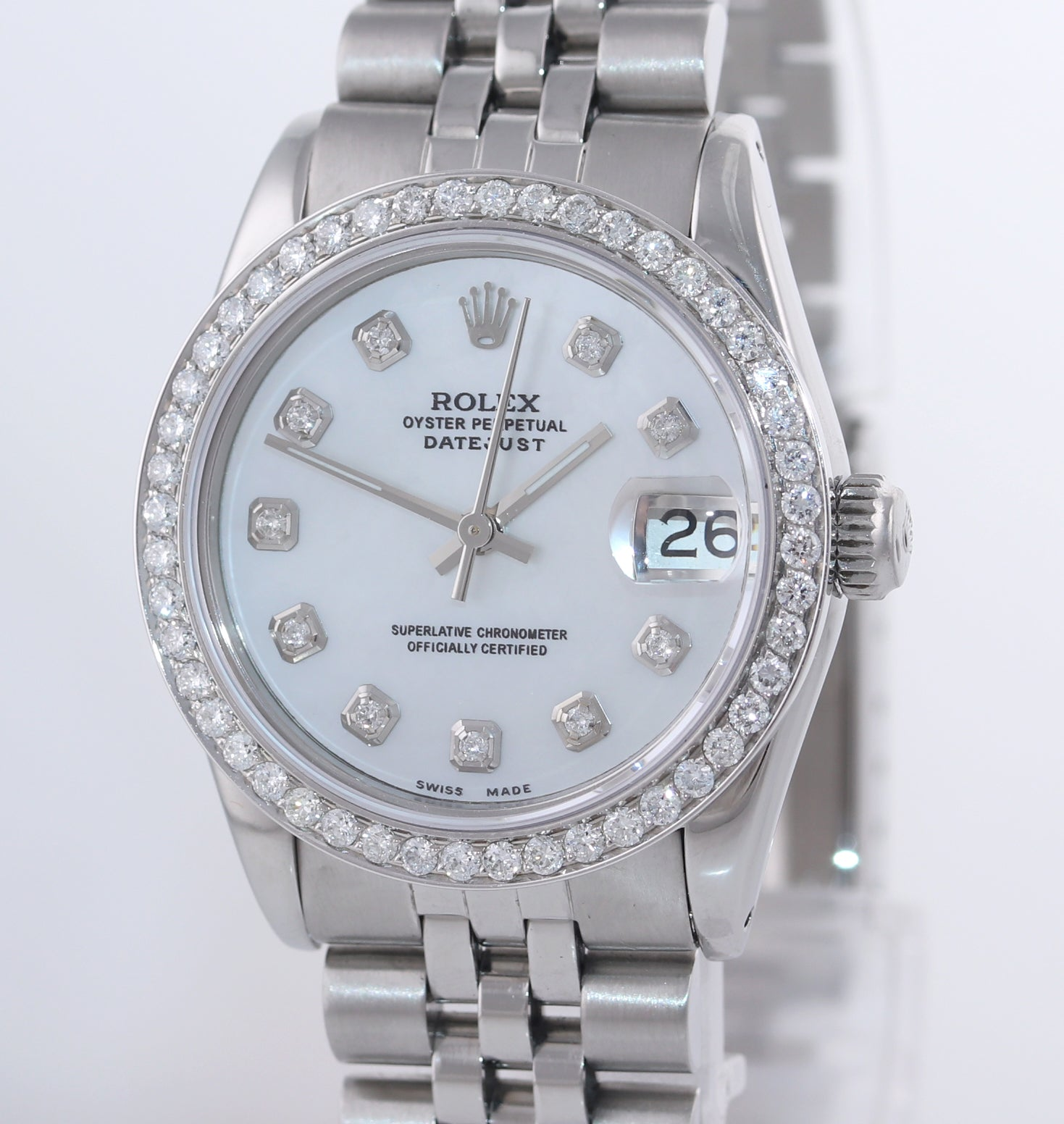 Ladies Rolex DateJust Mid-Size 31mm MOP Diamond 68240 Steel Jubilee Watch