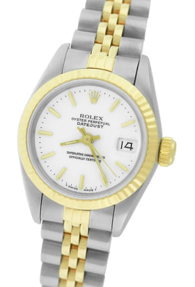Ladies Rolex DateJust 26mm 69173 Two-Tone 18K Gold Stainless White Jubilee Watch