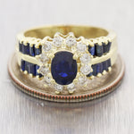 Vintage Estate 14k Yellow Gold 2.05ctw Sapphire & Diamond Ring