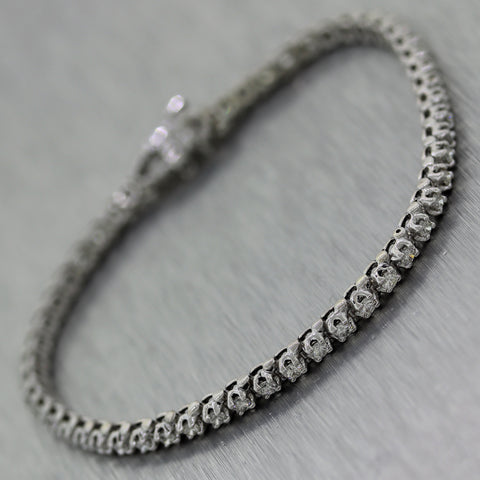 Modern 14k White Gold 2ctw Diamond Tennis Bracelet