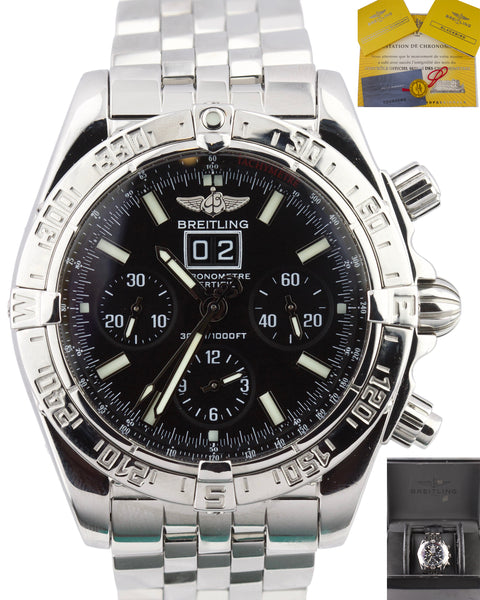 Men's Breitling Blackbird Chronograph Big Date A44359 Black 43mm Stainless Watch