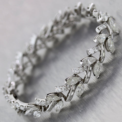 Vintage Estate Platinum 13.50ctw Marquise Diamond Bracelet