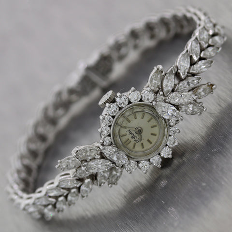 Vintage Estate Platinum 8.50ctw Marquise Cut Diamond Watch Bracelet