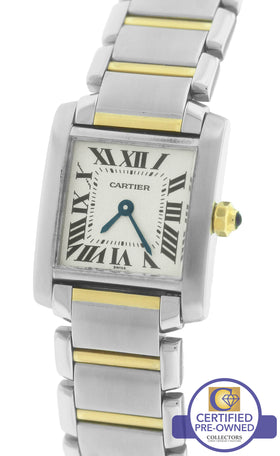 Ladies Cartier Tank Francaise Stainless Roman Swiss Quartz Watch 2300 W51007Q4