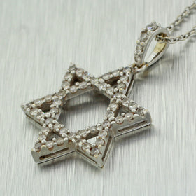 Vintage Estate 18k Solid White Gold Jewish Star of David Diamond Pendant Necklac