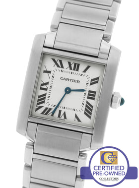 MINT Cartier Tank Francaise Mid-Size Quartz Stainless Date Watch WSTA0005 2301