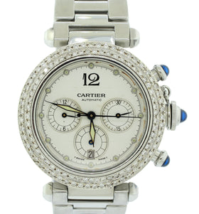 Cartier de Pasha 2113 38mm Steel Chronograph Automatic Watch Diamond Bezel