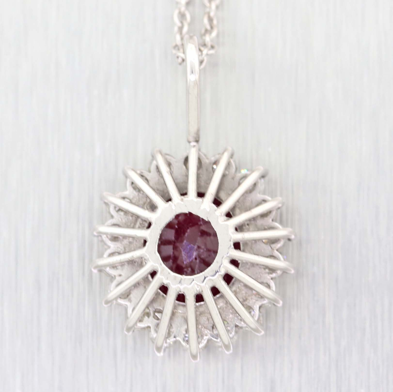 14k Platinum Glass Filled Ruby 1.00ctw Diamond Halo Pendant Chain Necklace A9
