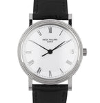 Men's Patek Philippe Calatrava 18k White Gold 33mm Automatic Date Watch 3802/200