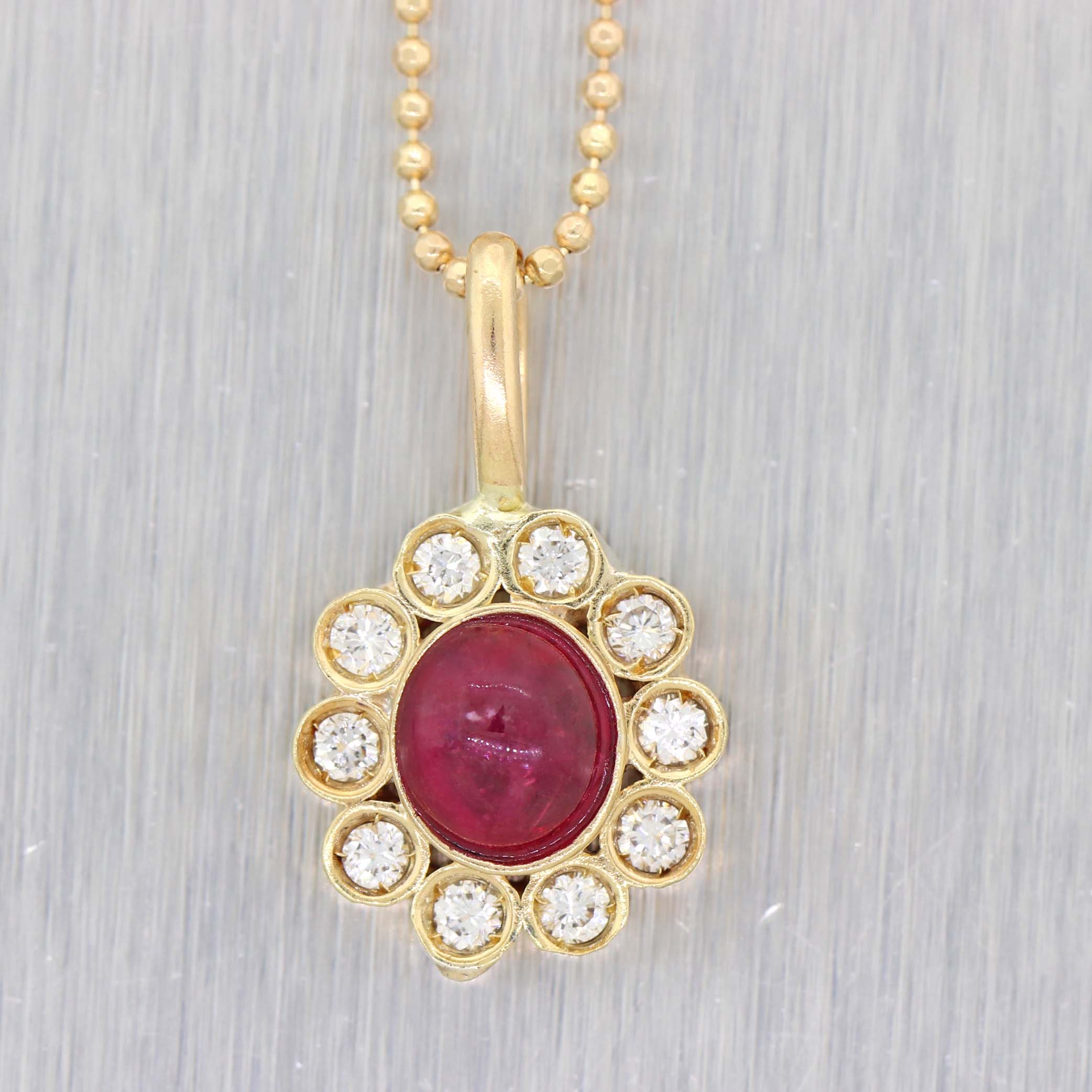 14k Yellow Gold Natural Ruby .20ctw Diamond Halo Pendant Chain Necklace A9