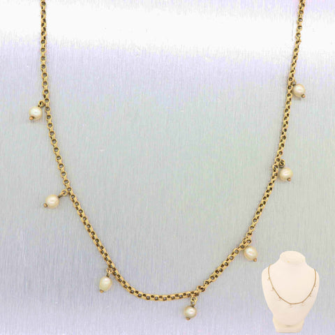 1900 Antique Victorian 14k Yellow Gold 7 Pearl Triple Box Link Chain Necklace A9