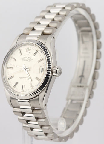 Ladies Rolex DateJust 31mm Silver Midsize 18K White Gold 6827 Watch President