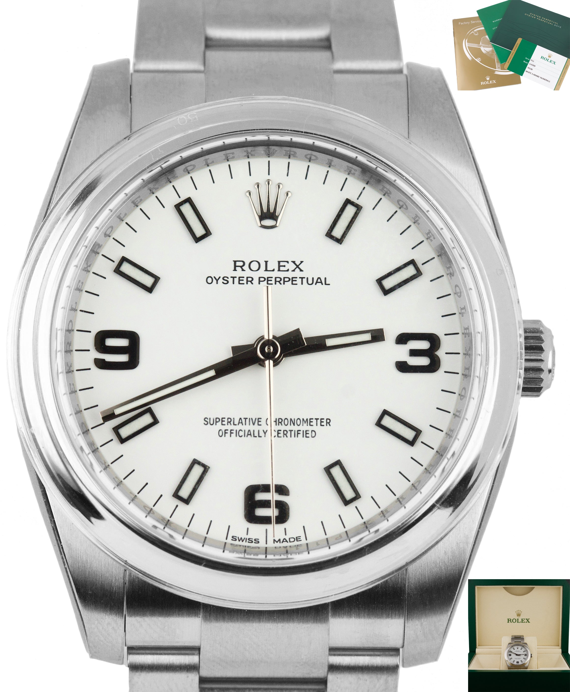 2014 BRAND NEW Rolex Oyster Perpetual 34mm White 114200 Stainless Engraved Watch