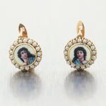 1880's Antique Victorian 14k Yellow Gold Hand Painted Seed Pearl Earrings