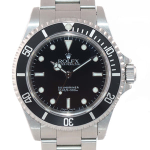 UNPOLISHED 2 LINER PAPERS Rolex Submariner Steel No-Date Black Dial 14060 Watch