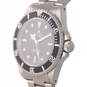 PAPERS UNPOLISHED 2 Line Black Dial Rolex Submariner Steel No-Date 14060 Watch