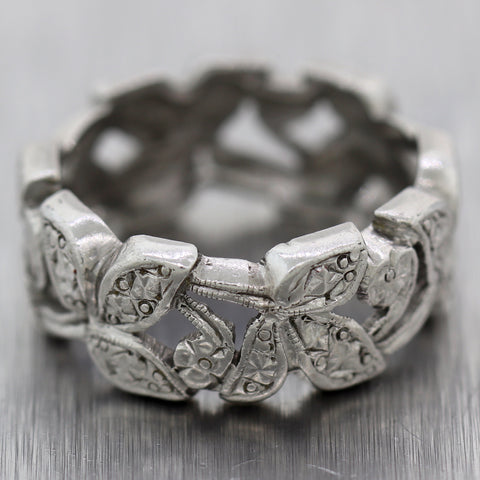 1930's Antique Art Deco Palladium Filigree Engraved Wedding Band Ring