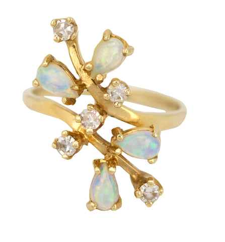 1880s Antique Victorian Retro 14k Yellow Gold 0.20ctw Opal Diamond Cocktail Ring