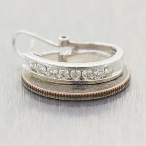 Modern 14k White Gold 1ctw Diamond Huggie Hoop Earrings
