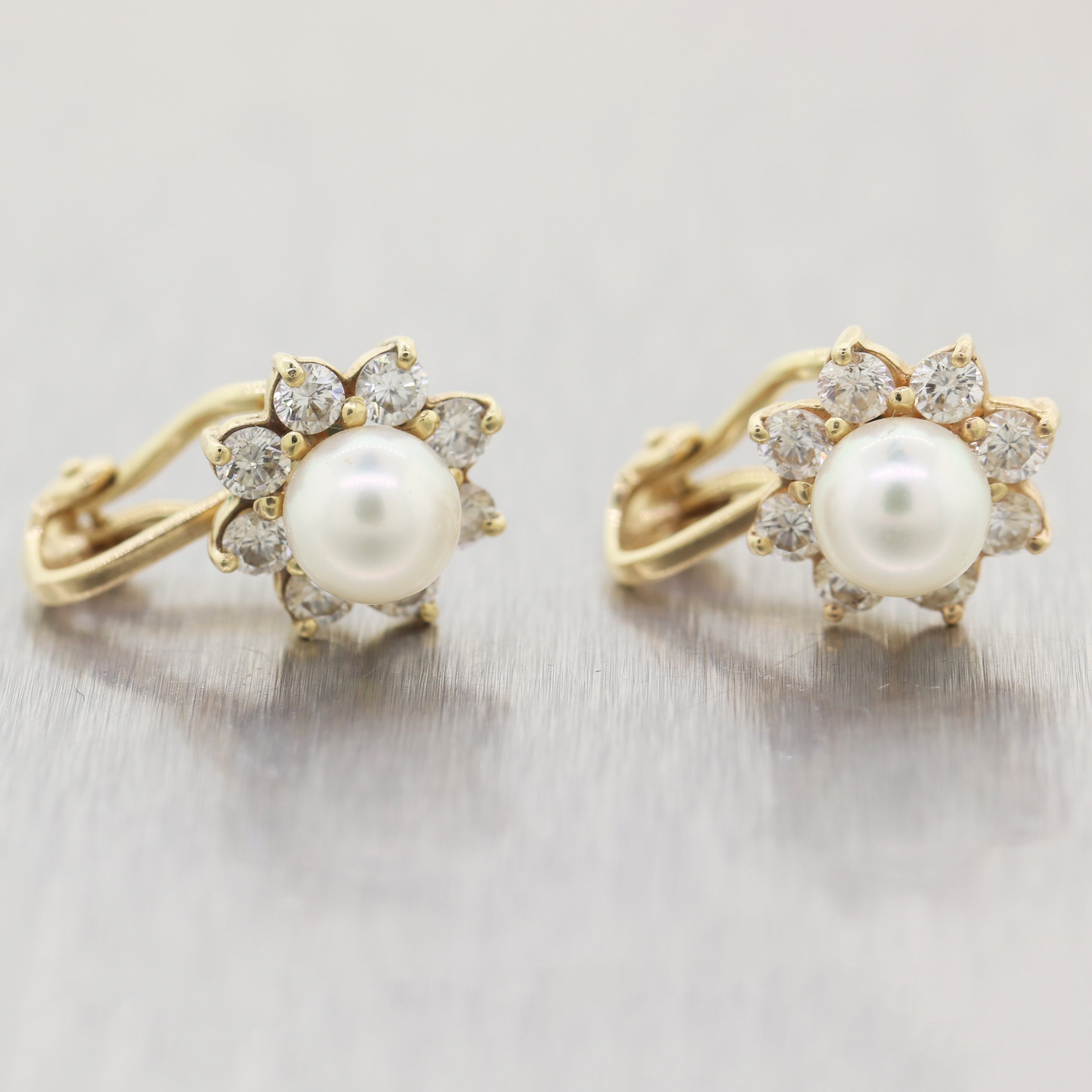 Vintage Estate 14k Yellow Gold Pearl & 1.50ctw Diamond Earrings