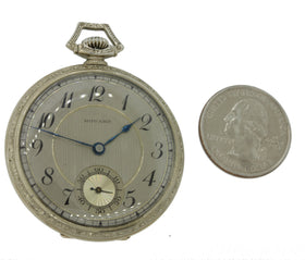 1930s Antique E. Howard Watch Co. Solid 14k White Gold Pocket Watch