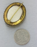 1880s Antique Victorian 14k Solid Yellow Gold .30ctw Ruby Etruscan Pin Brooch