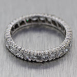 Vintage Estate Platinum 1.25ctw Diamond Eternity Wedding Band Ring