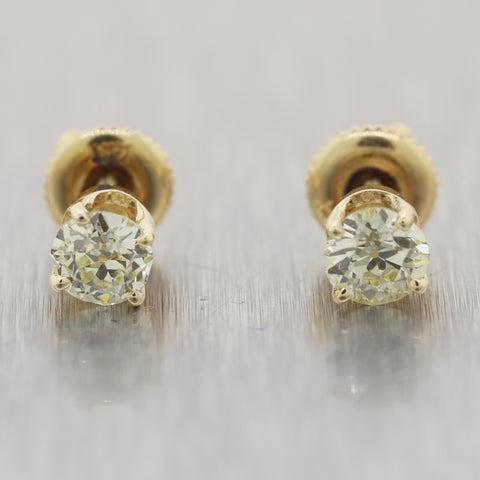 1930s Antique Art Deco 14k Yellow Gold Old Mine Cut 0.83ctw Diamond Stud Earring