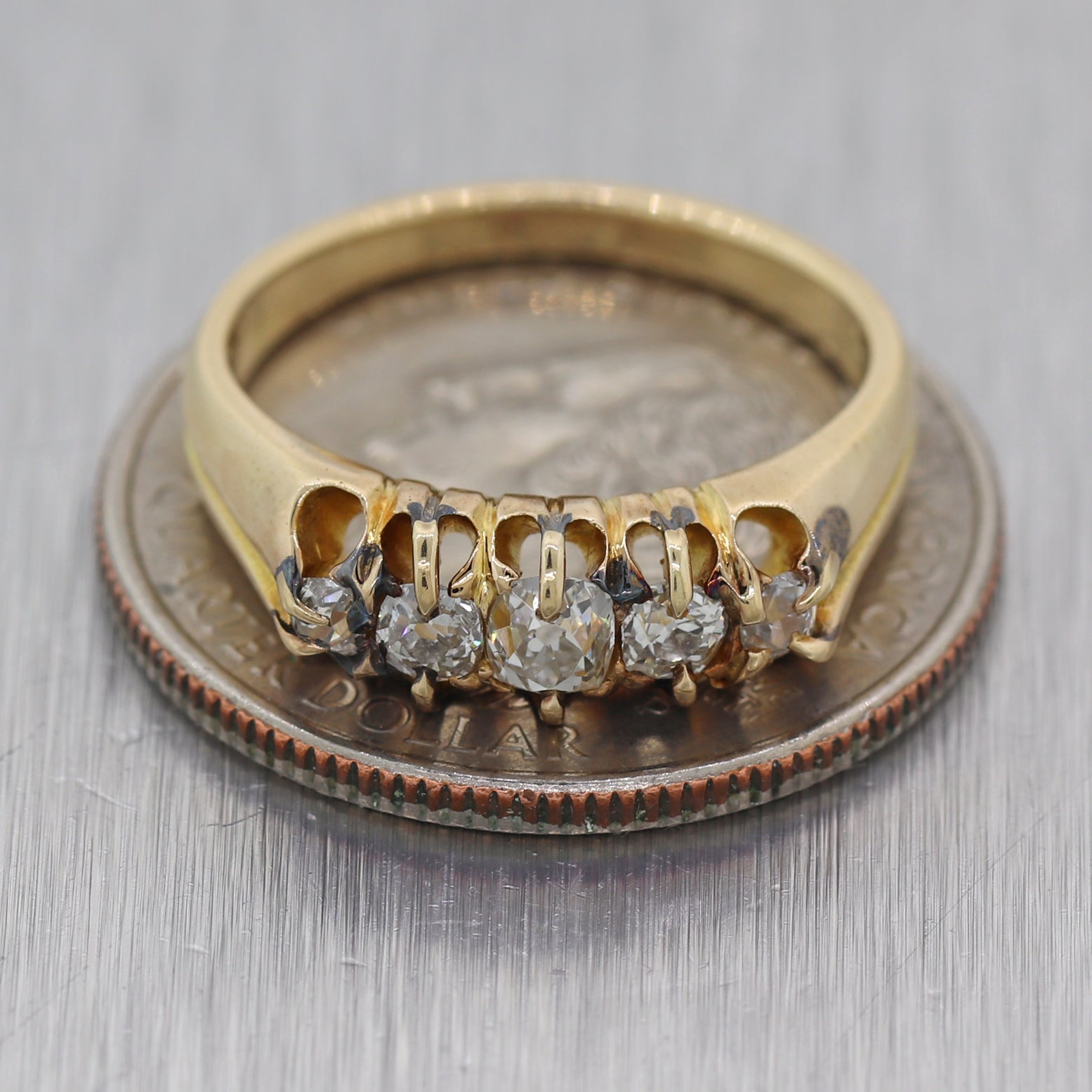 1850's Antique Victorian 14k Yellow Gold 0.50ctw Diamond Wedding Band Ring