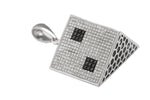 Men's 14K 585 White Gold 3D 8.29ctw Diamond Die Dice Pendant