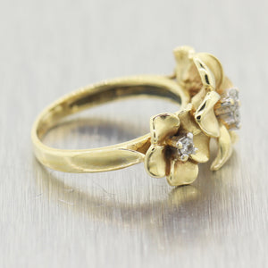 Modern 14k Yellow Gold 0.10ctw Diamond Plumeria Flower Ring
