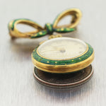 1880's Antique Victorian 18k Yellow Gold Enamel Ladies Pocket Watch Pin