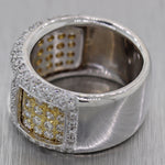 Modern 18k White & Yelllow Gold 2ctw Pave Diamond Band Ring