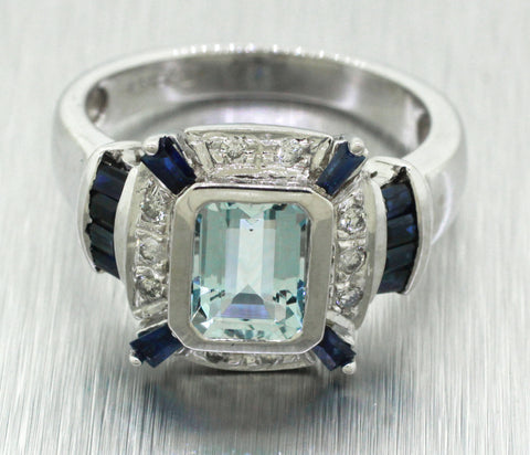 Vintage Estate 14k Solid White Gold 2.00ct Aquamarine, Sapphire, & Diamond Ring